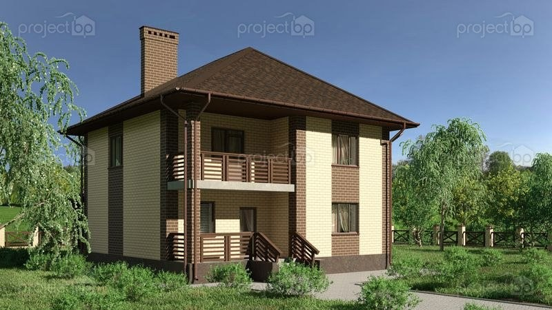 Проект двухэтажного дома с вальмовой крышей и балконом 148-C